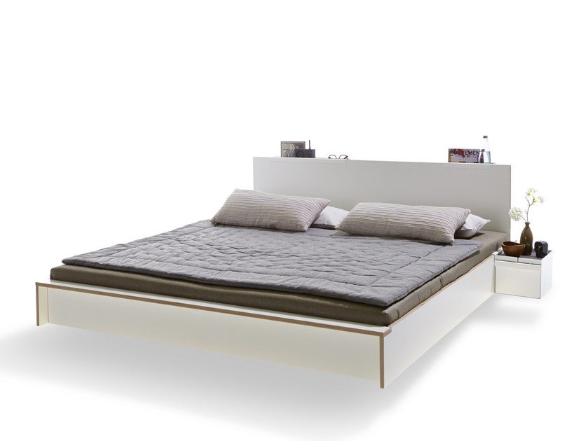 Multi-layer wood double bed FLAI | Multi-layer wood bed by Müller Möbelwerkstätten