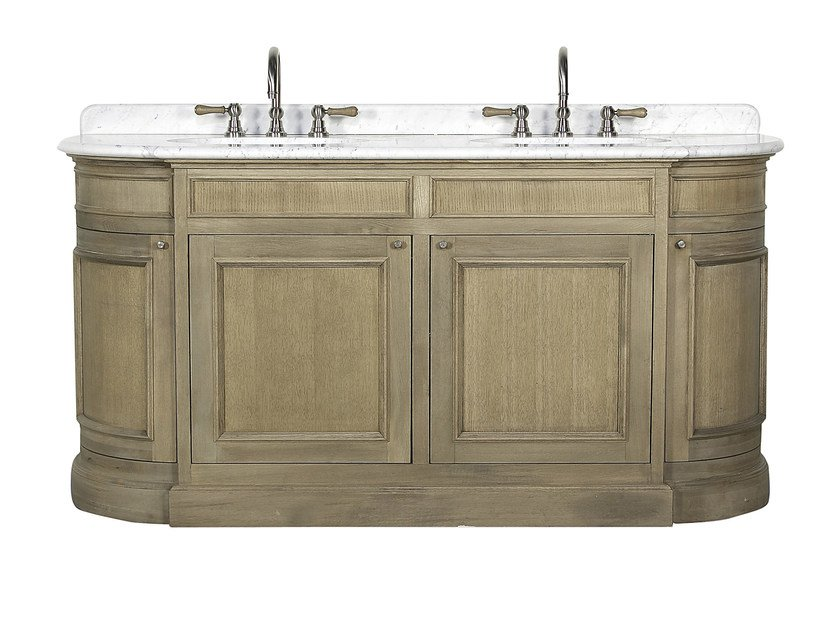 Double oak vanity unit with doors FLAMANT BUTLER | Double vanity unit by rvb