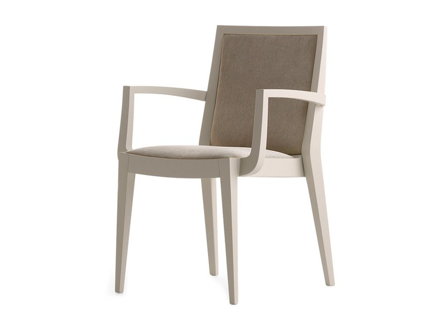 Upholstered stackable chair with armrests FLAME 02121 by Montbel