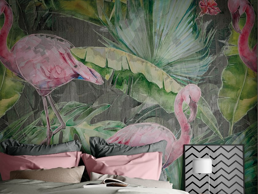 Digital printing wallpaper with floral pattern FLAMINGO by Tecnografica Italian Wallcoverings