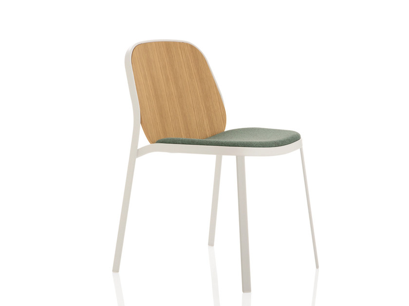 Upholstered wooden chair FLAP | Reception chair by Emmegi
