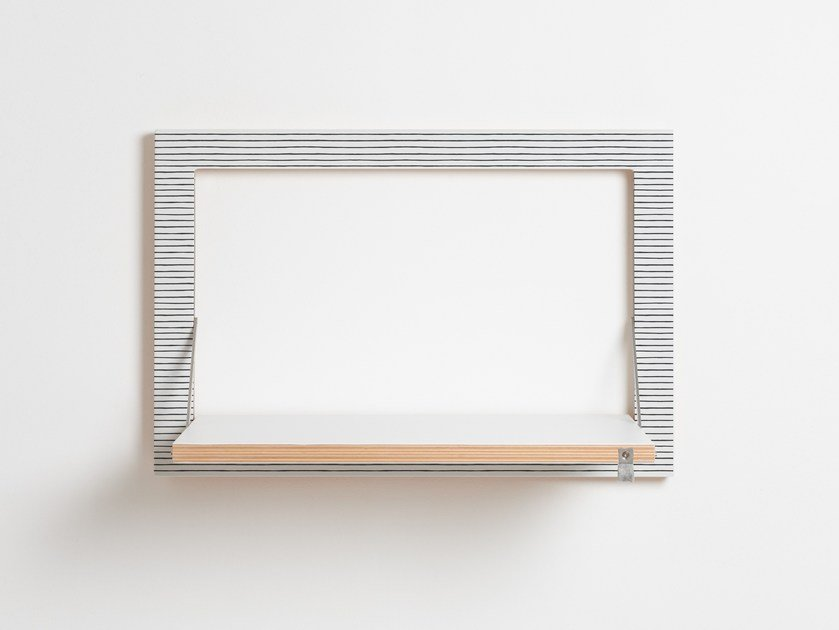 Folding plywood wall shelf FLÄPPS 60x40x1 - WATERCOLOR STRIPES by AMBIVALENZ