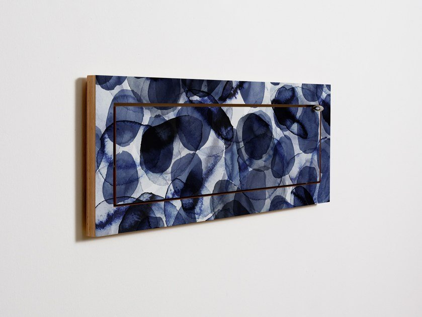 Contemporary style folding plywood wall shelf FLÄPPS 80x27x1 - BUBBLES INDIGO by AMBIVALENZ