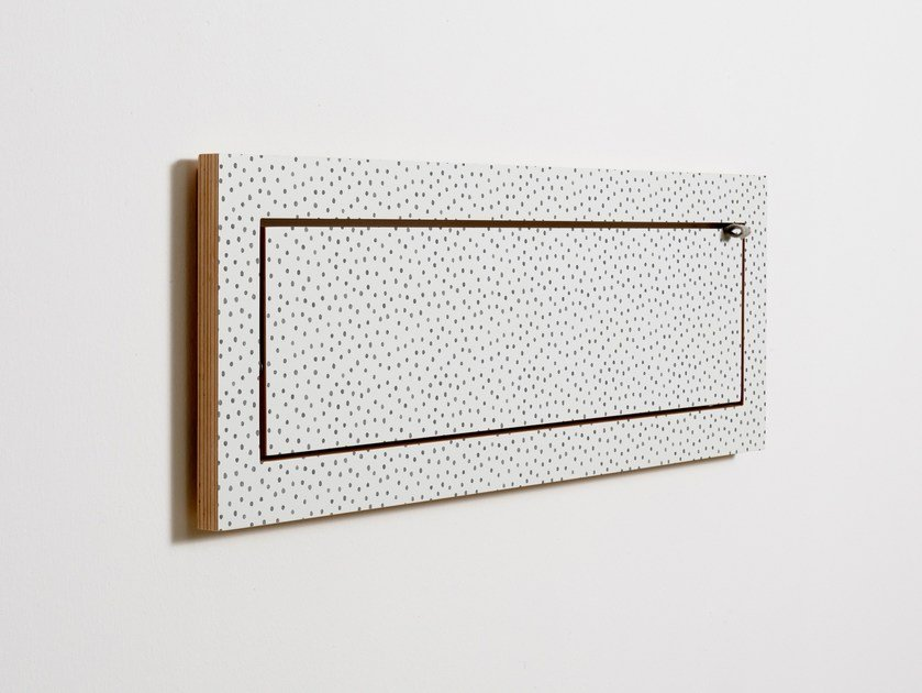 Contemporary style folding plywood wall shelf FLÄPPS 80x27x1 - WATERCOLOR DOTS by AMBIVALENZ