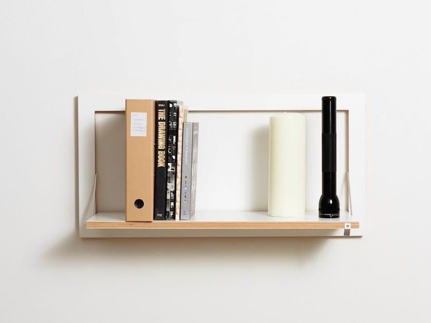 Folding plywood wall shelf FLÄPPS 80x40x1 - WHITE by AMBIVALENZ