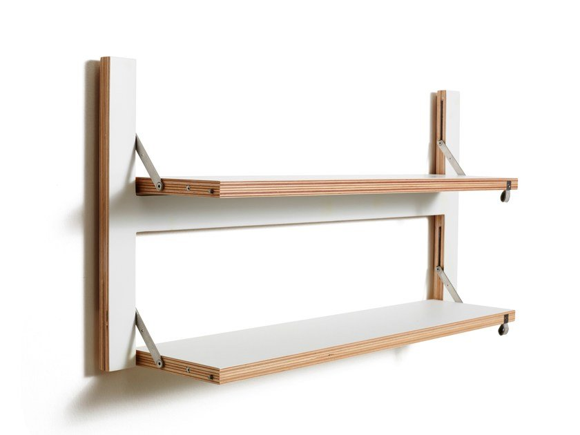 Folding plywood wall shelf FLÄPPS 80x40x2 - WHITE by AMBIVALENZ