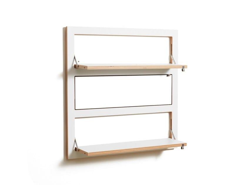 Folding plywood wall shelf FLÄPPS 80x80x3 - WHITE by AMBIVALENZ
