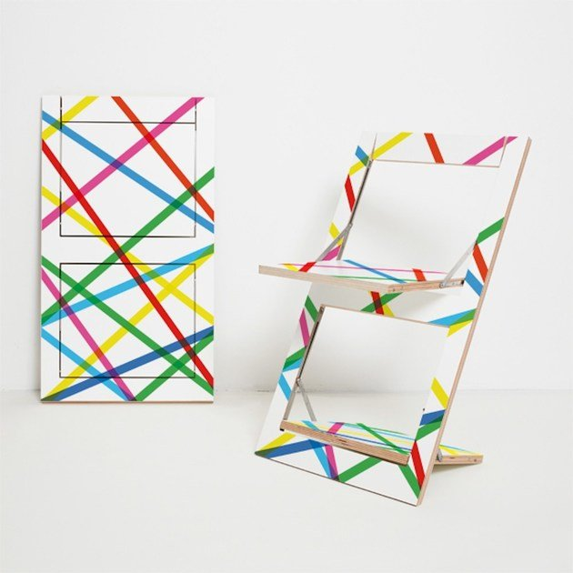 Folding Open Back Plywood Chair FLÄPPS FOLDING CHAIR   COLORED LINES By  AMBIVALENZ
