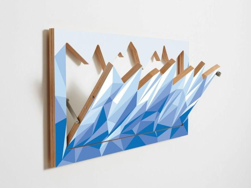 Wall-mounted plywood coat rack FLÄPPS HILLHÄNG - ICEBERG by AMBIVALENZ