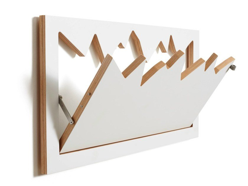 Wall-mounted plywood coat rack FLÄPPS HILLHÄNG - WHITE by AMBIVALENZ