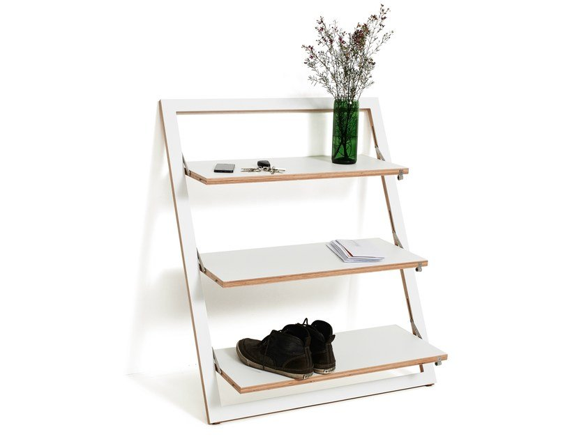 Lacquered plywood shelving unit FLÄPPS LEANINGSHELF - WHITE by AMBIVALENZ