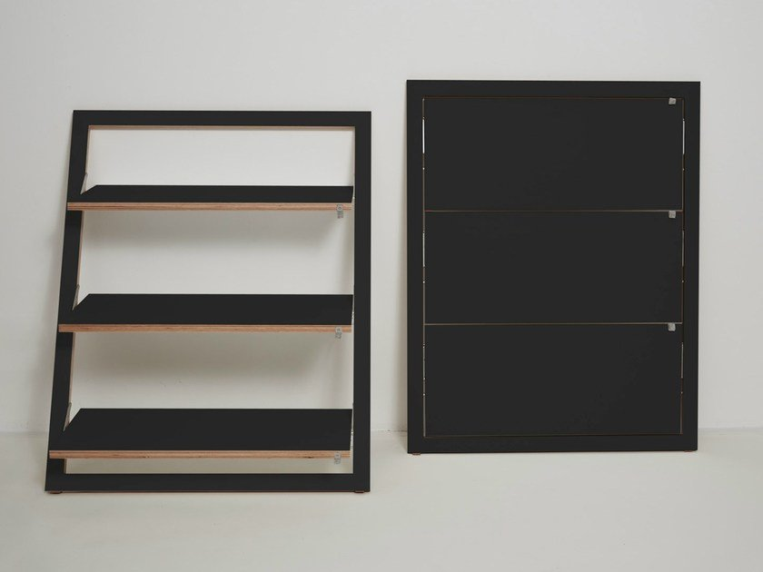 Lacquered plywood shelving unit FLÄPPS LEANINGSHELF - BLACK by AMBIVALENZ