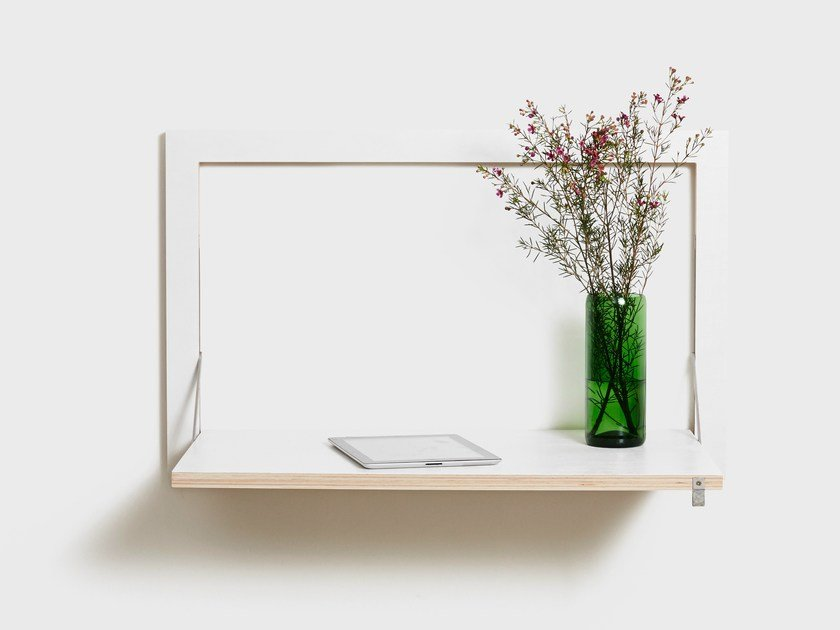 Plywood secretary desk FLÄPPS SECRETARY - WHITE by AMBIVALENZ