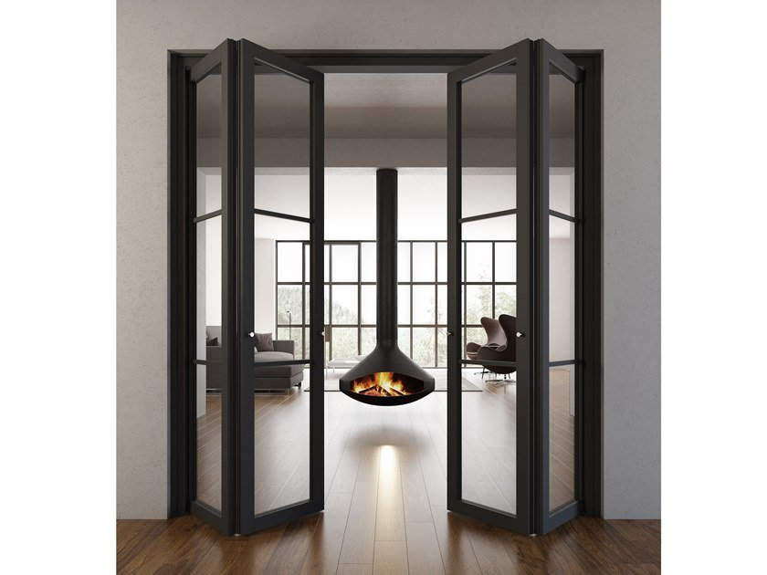 Folding wood and glass door FLAT F3 TOTAL BLACK | Folding door by FOA