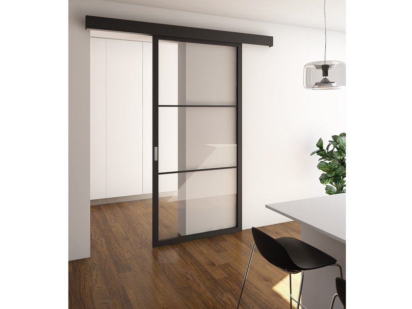 Wood and glass sliding door FLAT F3 TOTAL BLACK | Sliding door by FOA