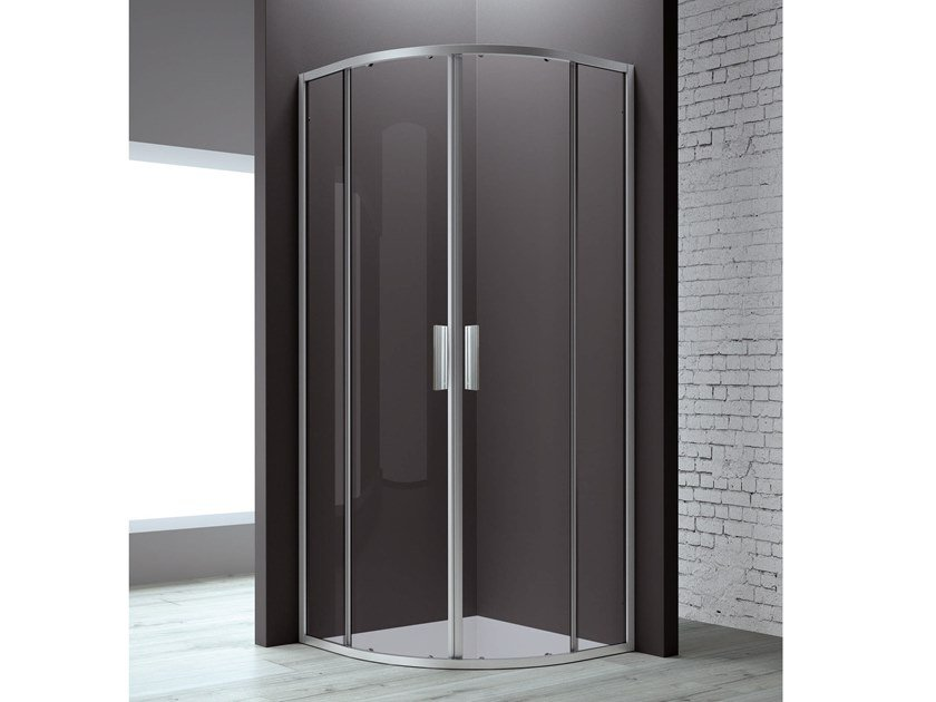 Corner semicircular shower cabin FLAT R2-S by RELAX
