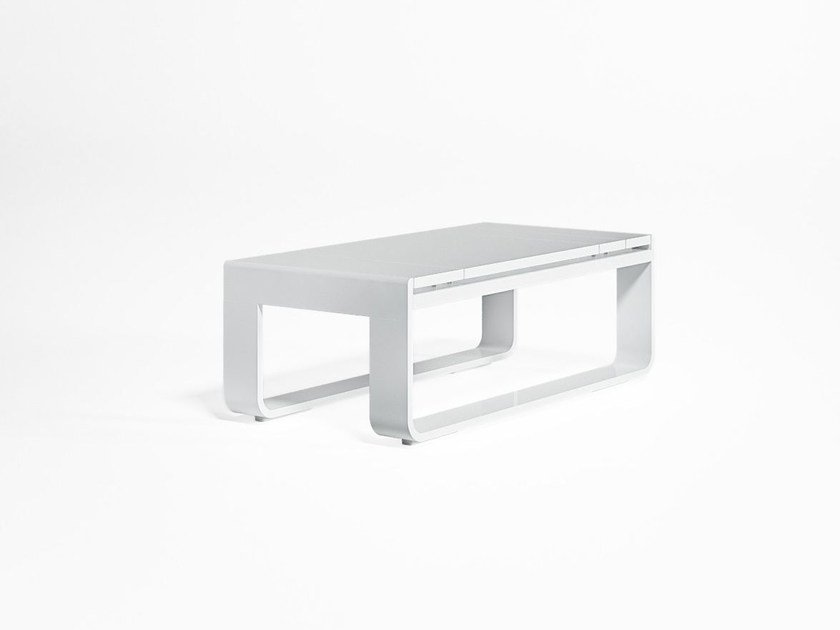 Low rectangular thermo lacquered aluminium garden side table FLAT | Rectangular coffee table by GANDIA BLASCO