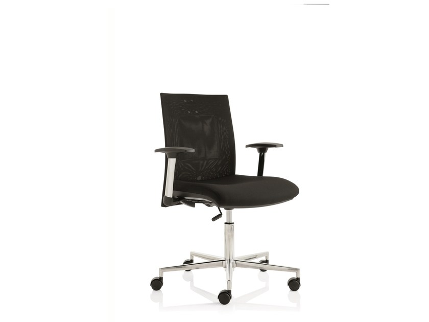Height-adjustable task chair with 5-Spoke base with armrests FLAT02 | Task chair by Emmegi