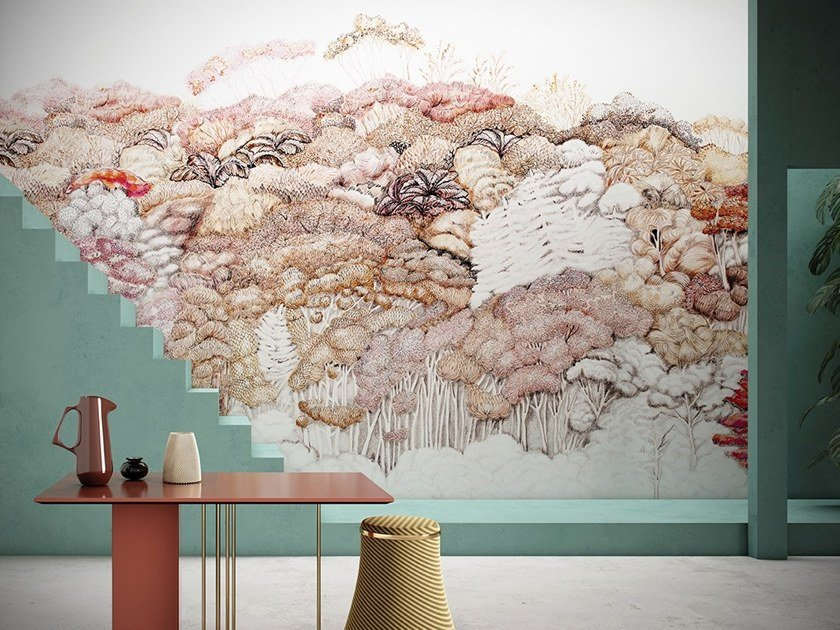 Wallpaper with floral pattern FLEURS DE BOIS by GLAMORA