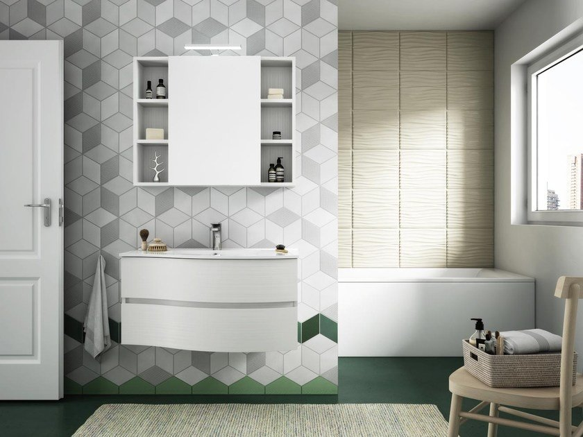 Suspended bathroom cabinet with drawers with mirror FLEX 02 by LEGNOBAGNO