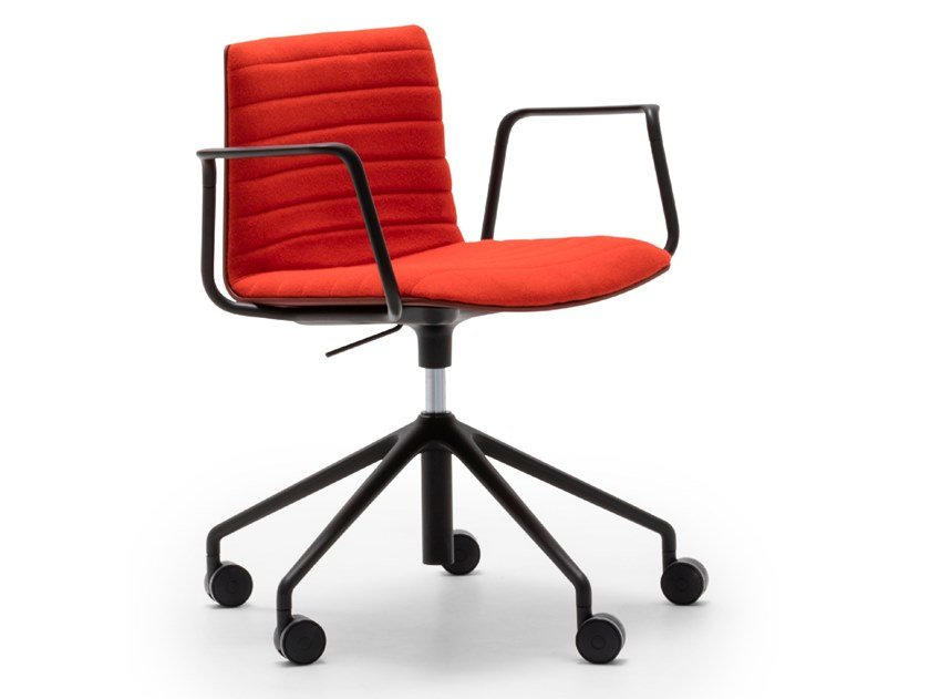 Swivel chair with 5-spoke base with castors FLEX CHAIR SO1307 by Andreu World