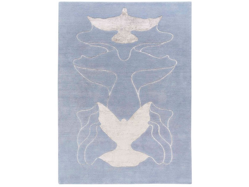 Hand knotted rug in tibetan wool and chinese silk FLIGHT by Deirdre Dyson