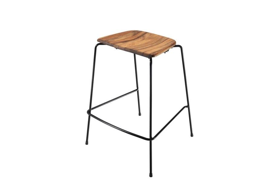 Iroko stool with footrest FLINT 549 | Iroko stool by Metalmobil