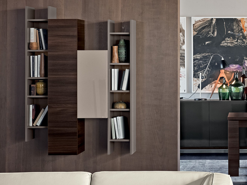 Modular floating bookcase LIVE CONTEMPORARY | Floating bookcase by Febal Casa