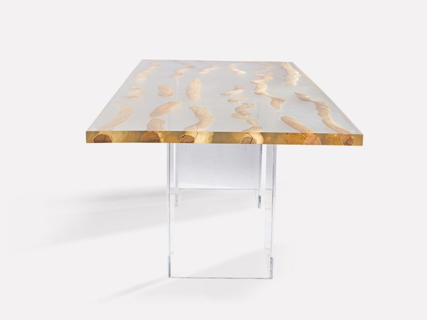 Rectangular wood and glass dining table FLOATING LIANA | Table by MORADA