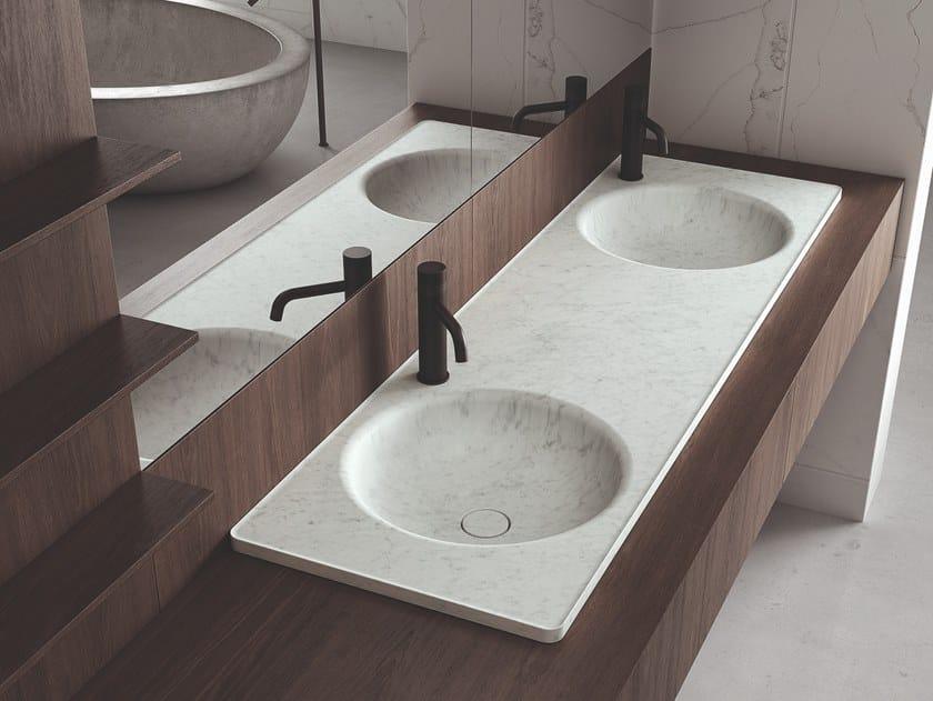 Lavabo da incasso soprapiano doppio rotondo in marmo FLOE | Lavabo doppio by Boffi