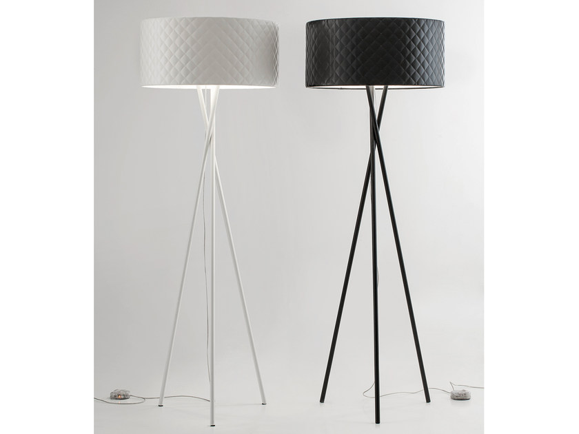 Imitation leather floor lamp MARIÙ | Floor lamp by Lucente