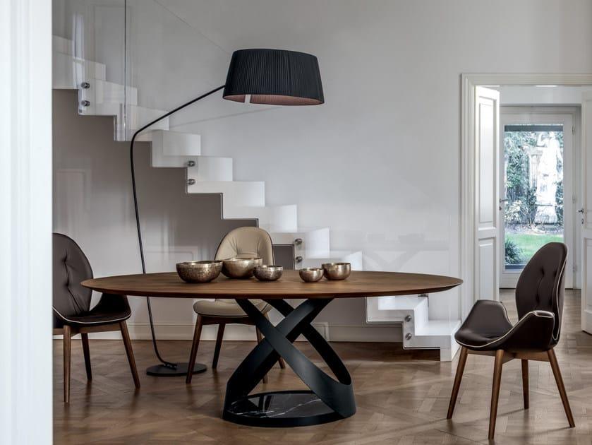 Fabric arc lamp RIVALTO | Floor lamp by Tonin Casa
