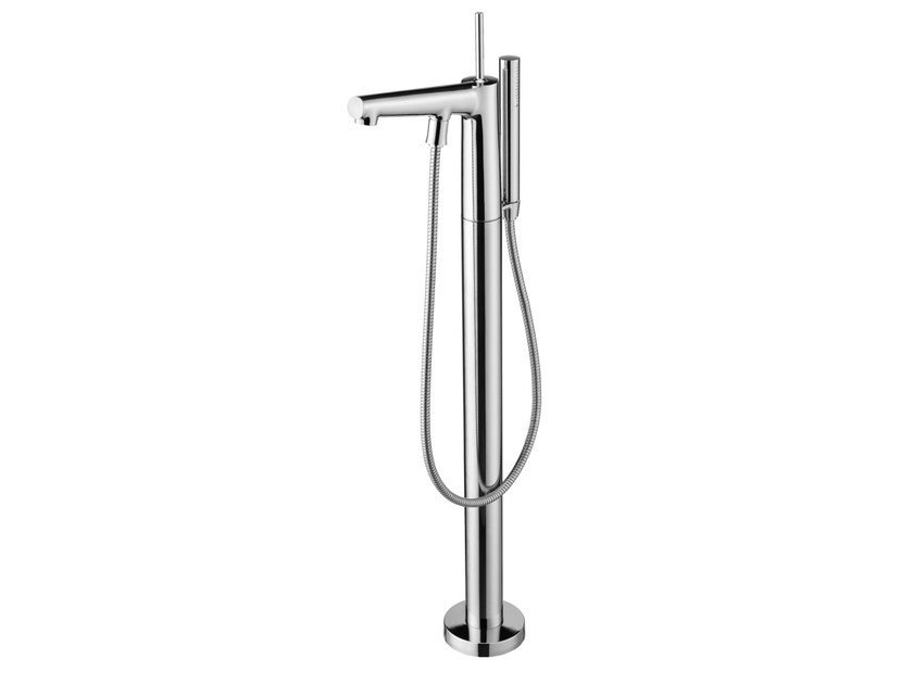 Floor standing chromed brass bathtub mixer with flexible hose CHAPTER | Floor standing bathtub mixer by JUSTIME