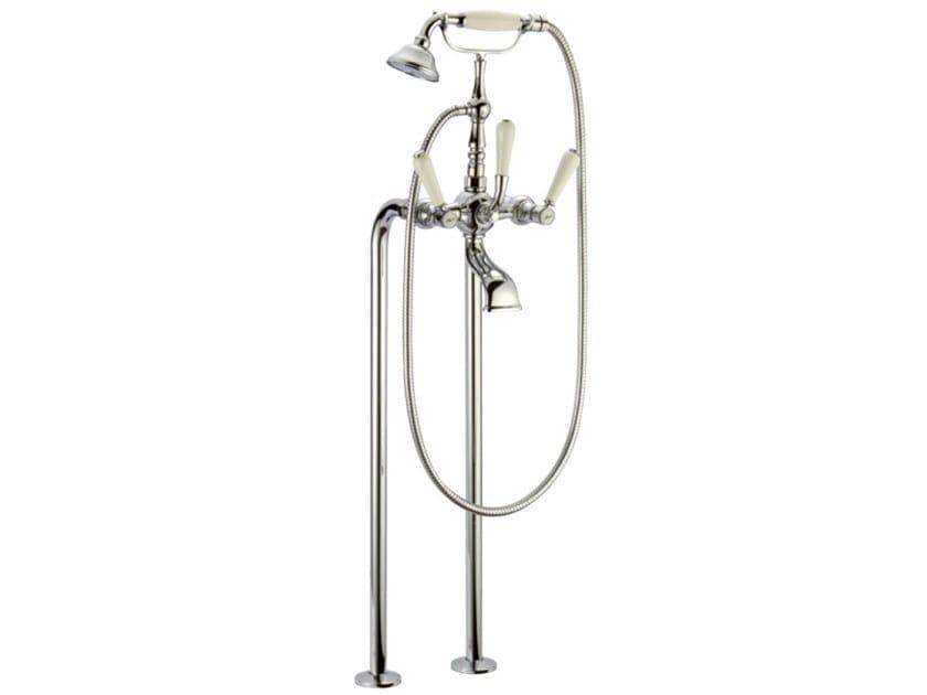 Floor standing brass bathtub set with hand shower BOSTON | Floor standing bathtub mixer by I Crolla Rubinetterie