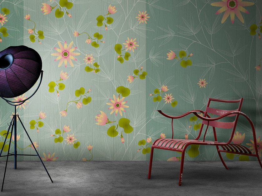 Vinyl or fyber glass wallpaper FLORA & FAUNA / AQUA LILIUM by N.O.W. Edizioni