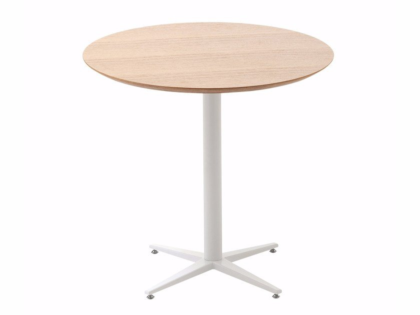 Round wooden table with 4-star base FLORA | Round table by Cizeta L'Abbate