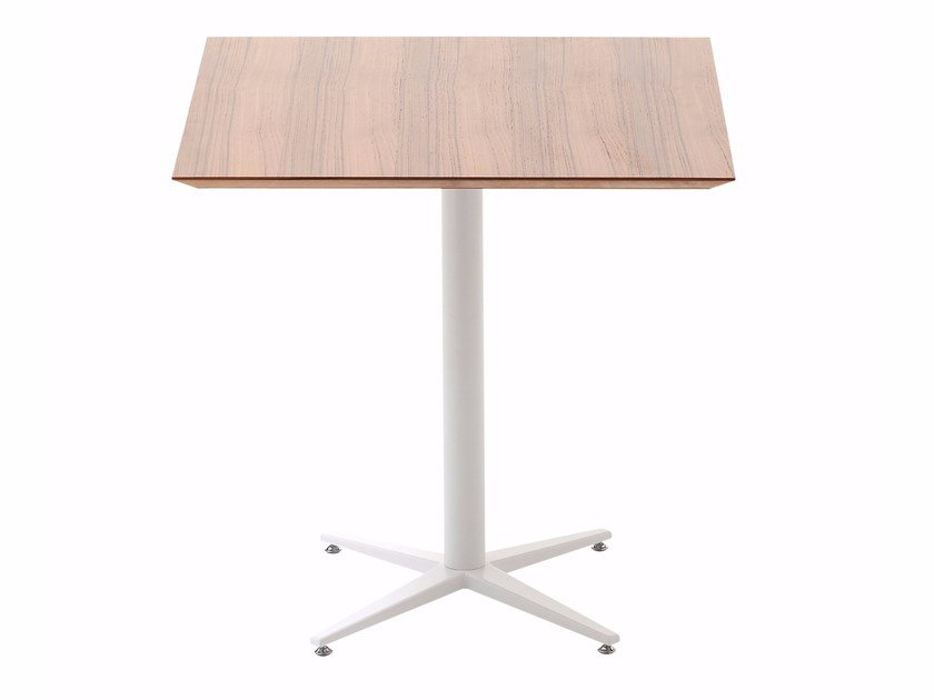 Contemporary style square wooden table with 4-star base FLORA | Square table by Cizeta L'Abbate