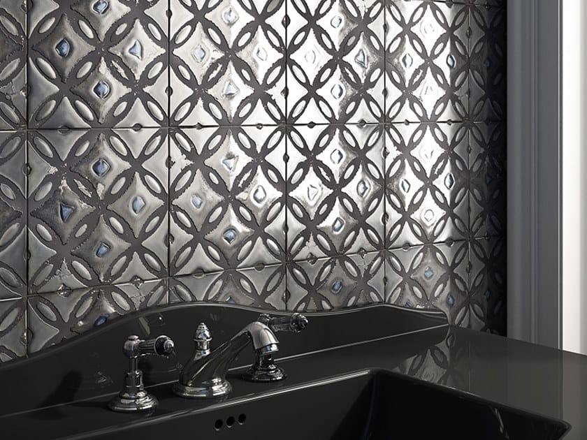 Glazed stoneware wall tiles with metal effect FLORA TILES by Devon&Devon