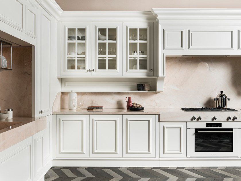 Linear wooden kitchen with handles FLORAL | Linear kitchen by L'Ottocento