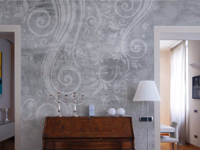 Panoramic wallpaper with floral pattern FLORAL WAVES by Inkiostro Bianco