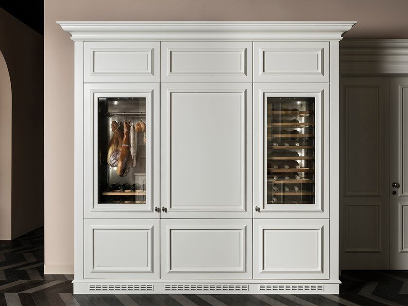 Wooden wine cooler with glass door FLORAL | Wine cooler by L'Ottocento