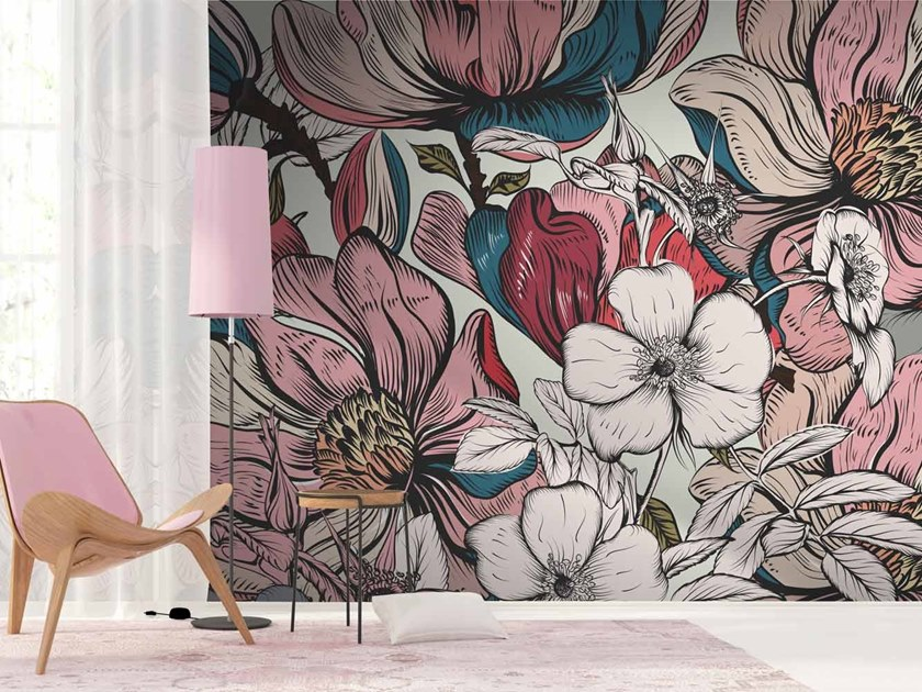 Digital printing wallpaper with floral pattern FLORALY by LGD01