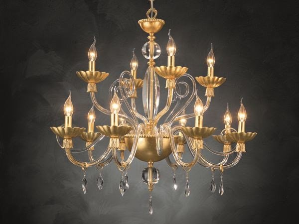Chandelier with crystals FLORENTIA L8+4 by Euroluce Lampadari