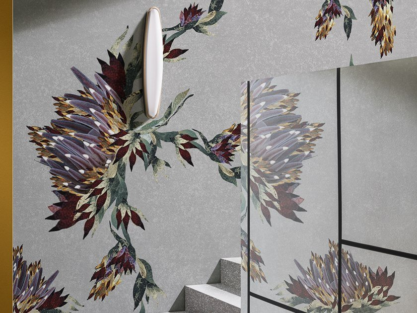 Wallpaper with floral pattern FLORIGRAPHIQUE by Wall&decò