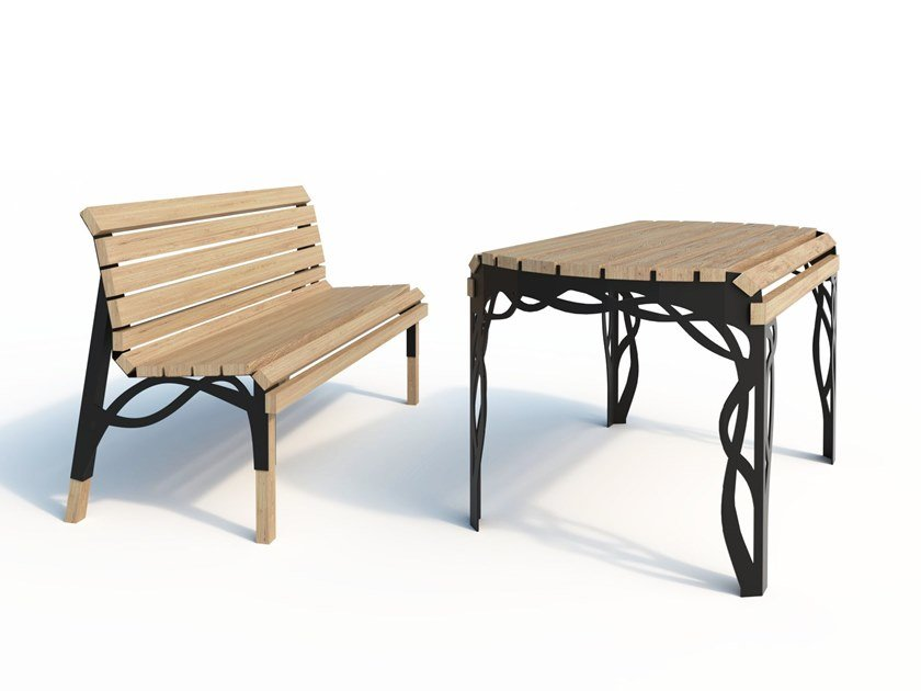 Steel and wood lounge set FLOW by Arpe studio
