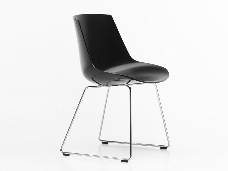 Sled base polycarbonate chair FLOW CHAIR | Sled base chair by MDF Italia