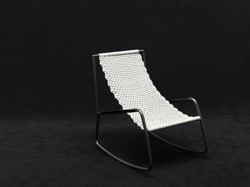 Rocking fabric garden armchair FLOW | Garden armchair by Living Divani