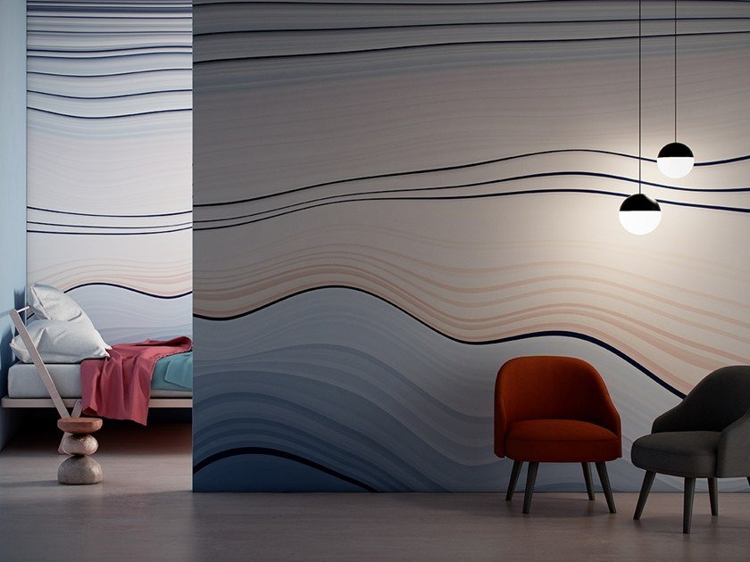 Striped Digital printing wallpaper FLOW by GLAMORA