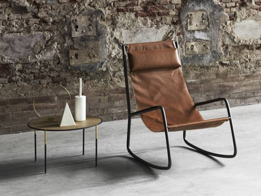 Rocking leather armchair FLOW | Armchair by Living Divani