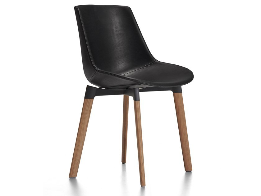 Upholstered leather chair FLOW LEATHER   Chair by MDF Italia